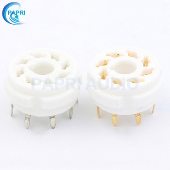 PAPRI 10PCS Ceramic K8A Gold Plated 8Pin Vacuum Tube Socket PCB Mount Gold Octal Valve Base For KT88 EL34 274B 6SN7 6SL7 6V6 Etc 2 silver gold cnc machined aluminum cv181 6ca7 6n9p 6sn7 tube pre amplifier decorating base ring