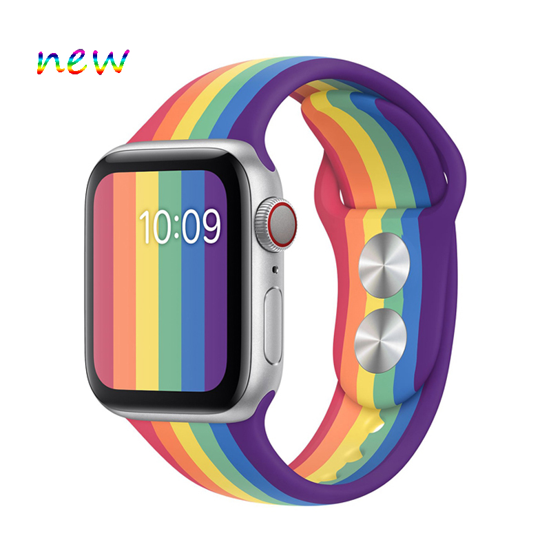 Pride Edition For Apple Watch Band 42mm 38mm Silicone Strap Iwatch Correa 44mm 40mm Sport Bracelet Rubber Watchband Accessories