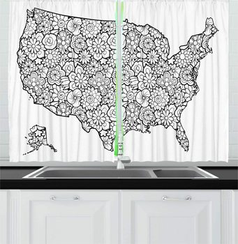 Charcoal Grey and White US Map Kitchen Curtains America Map with Outline Jumble Floral Doodle in Monochromatic Ornate Window image