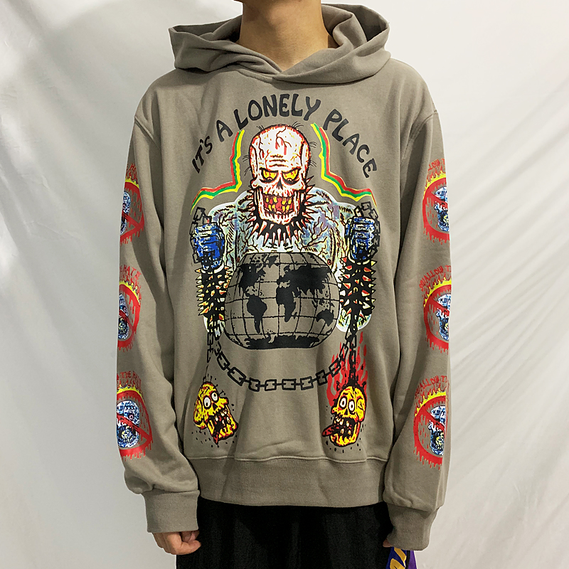 XXXTENTACION Hoodies Men Women High Quality Kanye West Hoodie skull Graffiti Streetwear Season Sweatshirts it is a lonely place