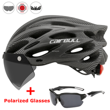 Ultralight Cycling Safety Helmet Outdoor Motorcycle Bicycle Taillight Helmet Removable Lens Visor Mountain Road Bike Helmet