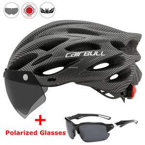 Image 1 - Ultralight Cycling Safety Helmet Outdoor Motorcycle Bicycle Taillight Helmet Removable Lens Visor Mountain Road Bike Helmet