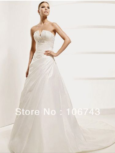 Free Shipping Factory Promotion 2016 New Style Hot Sale Sexy Wedding Wear Sweet Princess Custom Size Crystal Pleat Bridal Dress