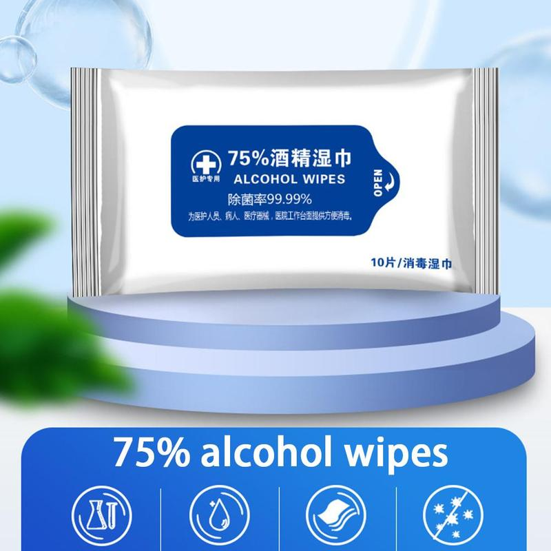 10sheets/Pack Portable Disinfection Antiseptic Alcohol Pads 75% Alcohol Wet Wipes Disposable Skin Cleaning Sterilization Wipes