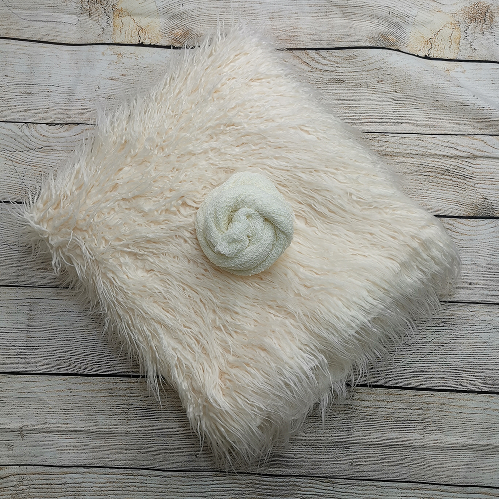 Backdrops 150 X 100 Cm Mongolia Faux Fur Long Rug Cushion+140*30cm Stretch Knit Wrap For Newborn Photography Props