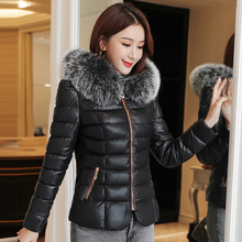 Winter Jacket Women Woman Cotton PU Leather Parkas Coat Plus Size Korean Fashion Cotton-padded Fur Hooded Jackets