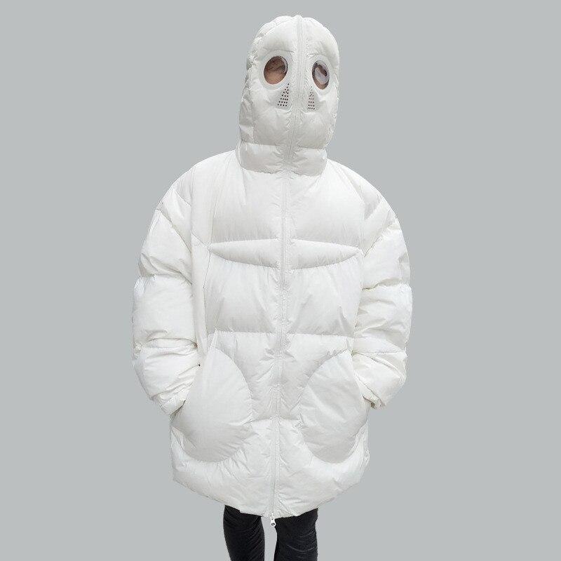 Plus Größe Frauen Jacke Winter Mantel Frauen Lose Parka Gesicht Kappe Kapuze Dicken Parka Weiß Schwarz Lustige Persönlichkeit Alien Mantel XX58