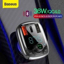 Baseus – chargeur de voiture transmetteur FM Bluetooth 5.0, lecteur MP3, mains libres, modulateur FM, Charge rapide 4.0 PD 3.0, USB, Gadget