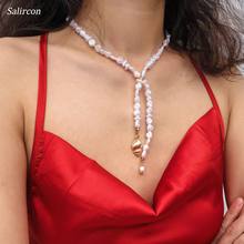 Salircon Personality Fashion Imitation Pearl Choker Necklace Alloy Double Geometric Irregular Chain for Woman Jewelry