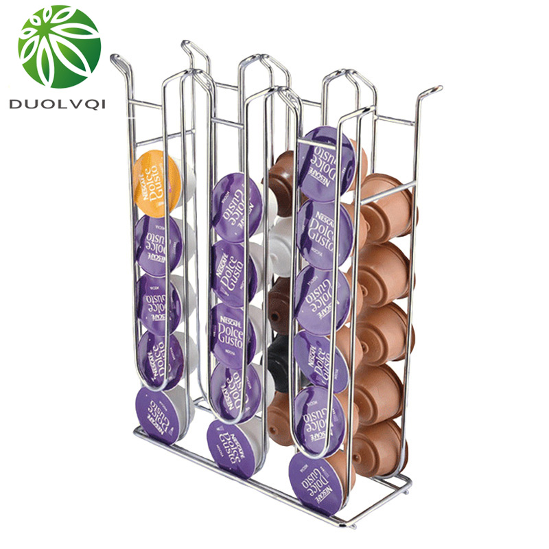 Duolvqi Metal Capsule Coffee Pod Holder Tower For Dolce Gusto Iron Chrome Plating Display Rack Storage Capsule Organizer Tools
