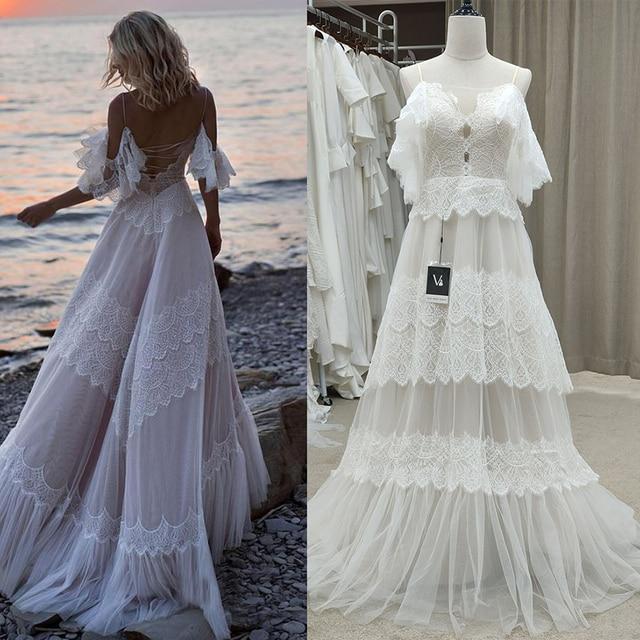 Bohemian Boho Beach Garden Bridal Gown Lace Champagne Spaghetti Straps Backless Destination Wedding Dress Vestido De Noiva #1241 1