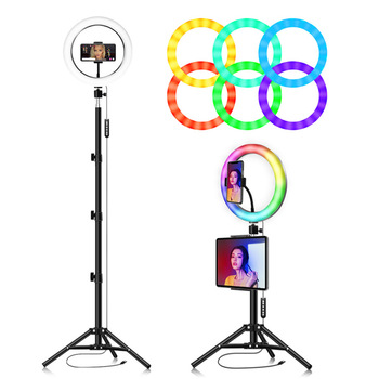 10inch RGB light colorful Usb Beauty Video Studio Photo Circle Lamp Dimmable Selfie Led Ring Light With Tripod Stand flash LED
