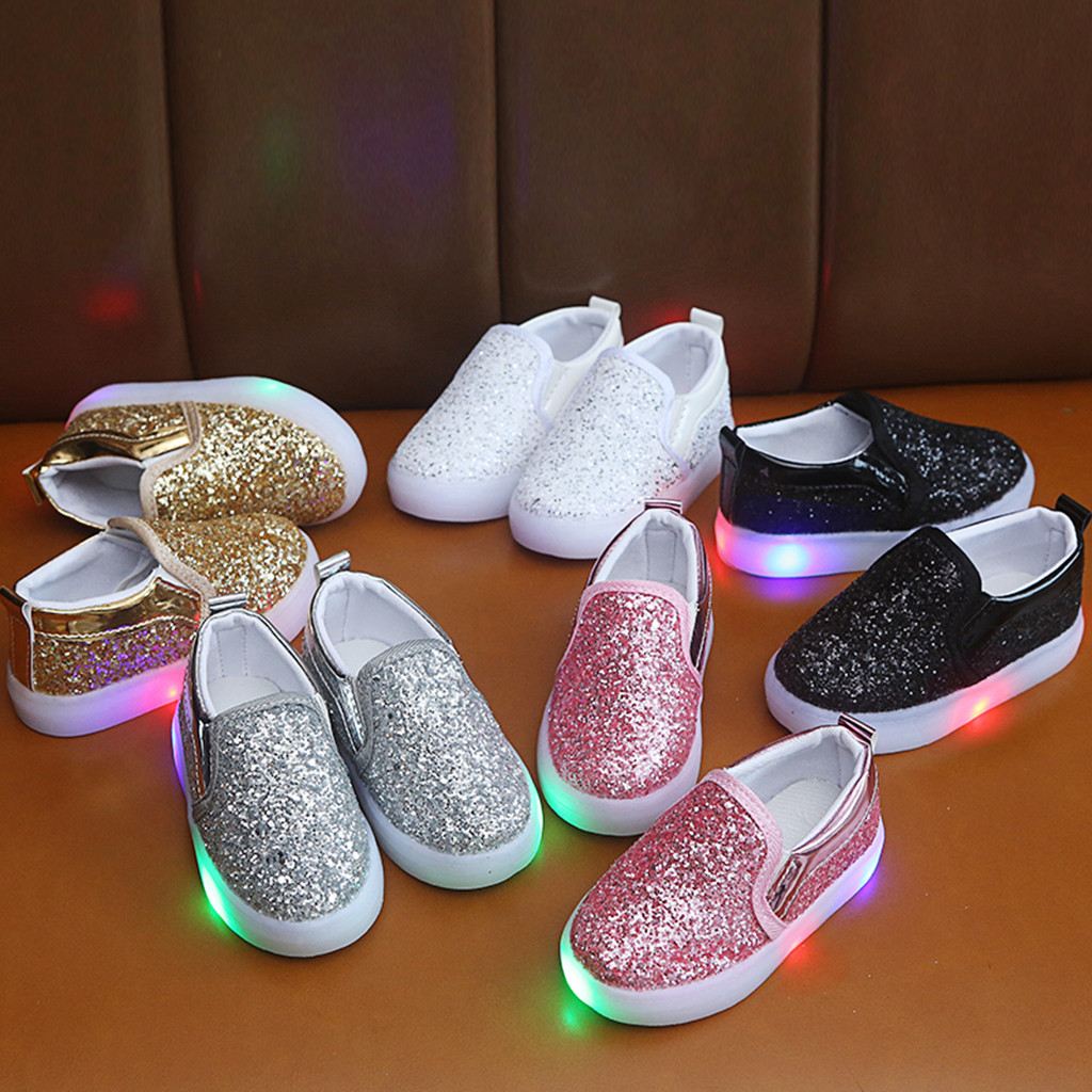 2019 New Fashion Children Baby Girls Boys Lighted Sport Shoes Squeins Flower Butterfly Led Light Luminous Sport Shoes 25#3