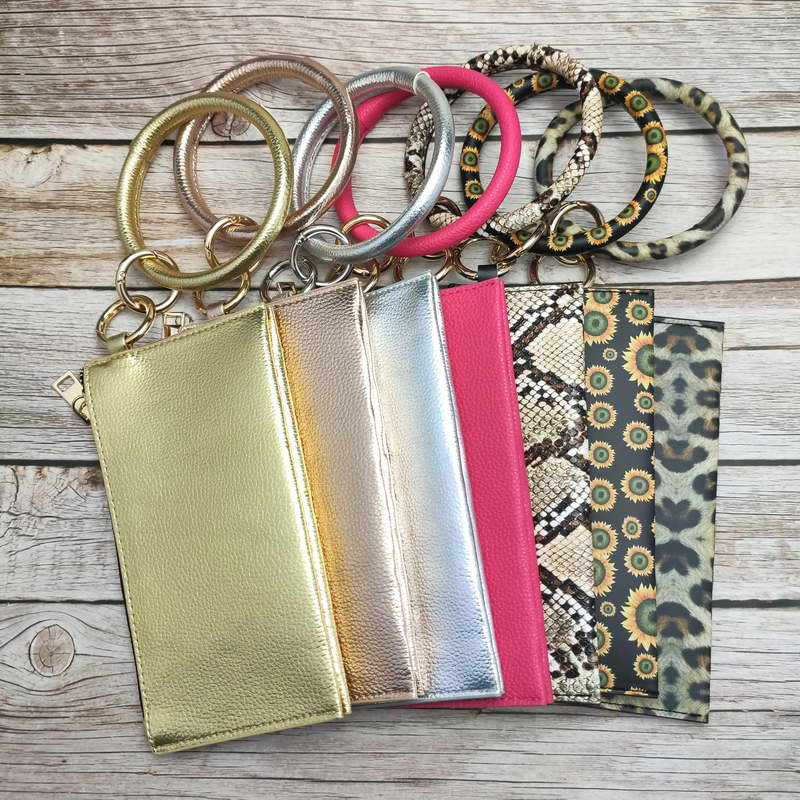 ZWPON Vegan Leather Phone Bag Key Keychain Leopard Bracelet Zipper Clutch Credit Cards Coin Case Purse Wholesale