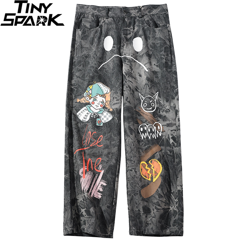 2020 Hip Hip Pants Streetwear Men Loose Denim Pants Graffiti Print Black Vintage Denim Pants Harajuku Joggers Trousers Cotton