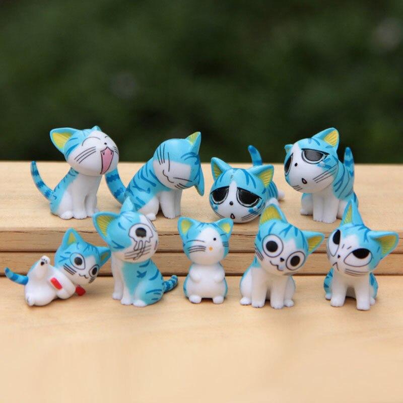 Kawaii 9 шт. чи Кошка маленькая фигурка 3 см микро пейзаж маленький Chis сладкий котенок смайлик украшения ПВХ модель игрушки домашний декор