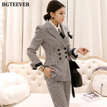 Office Ladies Women Pant Suits Double-breasted Blazer Jacket & Ankle-length Pant