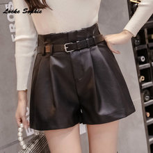 High waist Women's Plus size leather shorts 2019 A