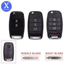 Xiniuexin substituição caso chave do carro fob para kia rio k2 k3 k5 sorento forte optima remoto chave caso escudo flip dobrável 2 3 4 botão