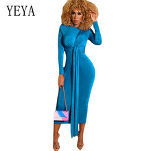 YEYA Bandage Dress New Arrivals Autumn Women Long Sleeve O Neck Solid Slim Femme Elegant Party Sexy Red Dresses