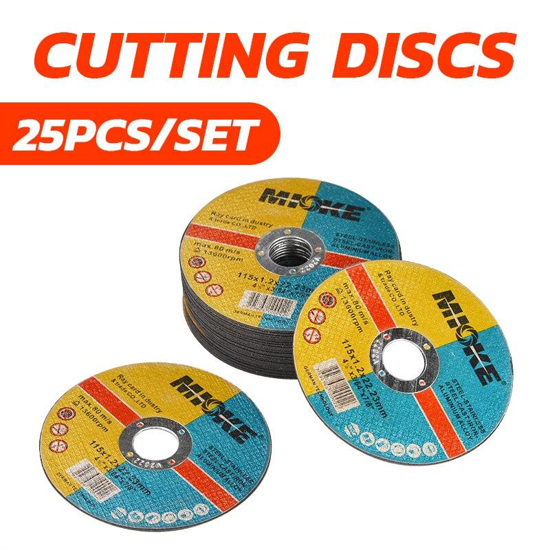 25pcs/set Thin Metal Cutting Slitting Discs Stainless Steel 115mm/4.5
