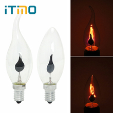 Купить с кэшбэком iTimo LED Edison Bulb E14 E27 3W Flame Fire Lighting Vintage Flickering Effect Tungsten Novel Candle Tip Lamp Orange Red