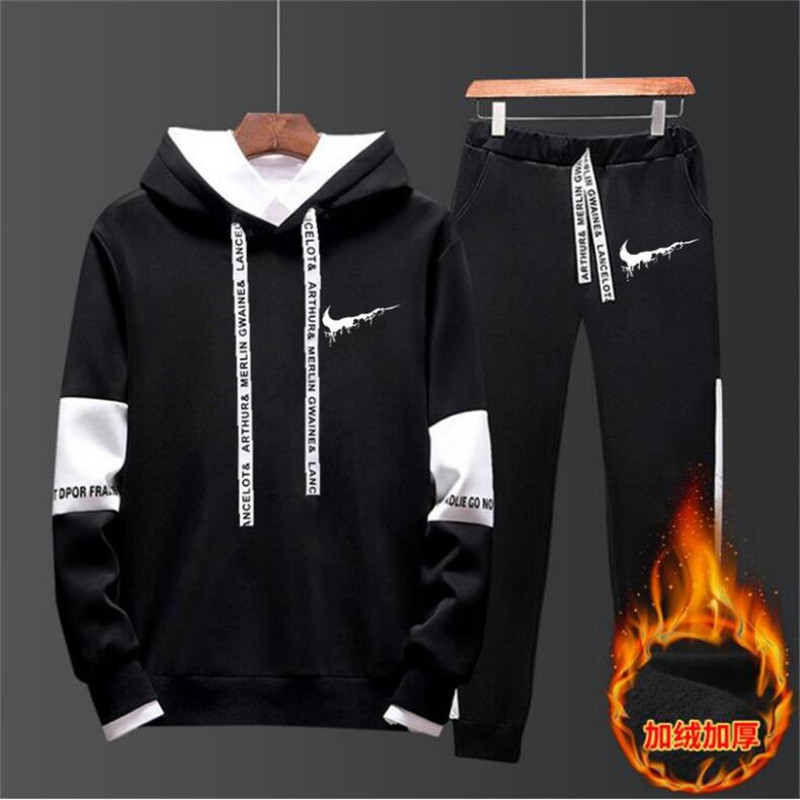 New Brand Clothing Men's Casual Sweatshirts Pullover Men Tracksuit Hoodies Two Piece +Pants Sport Shirts Autumn Winter Set