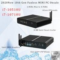10th Gen Fanless Mini PC Intel Core i7 10710U 10510U Desktop PC Windows 10 2*DDR4 M.2 NVMe+Msata+2.5''SATA HTPC tablet HDMI DP