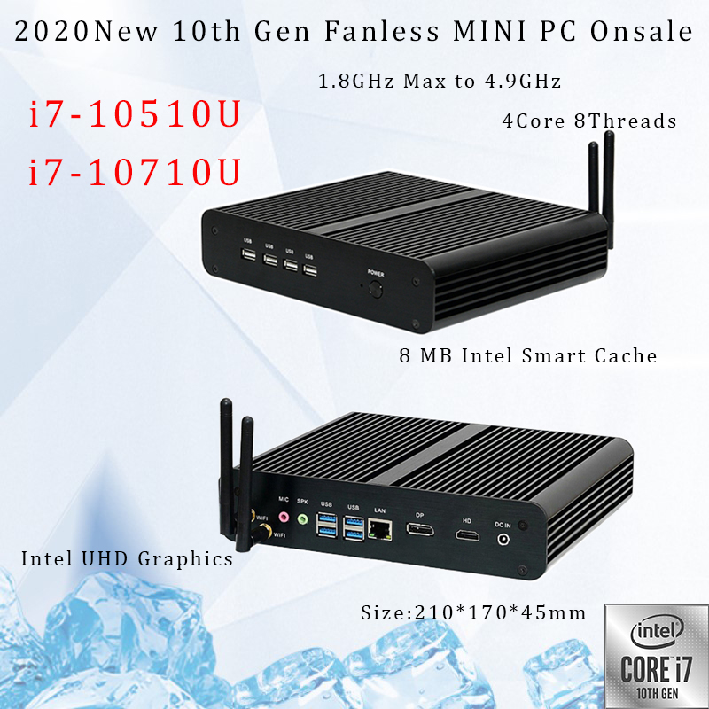 10th Gen Fanless Mini PC Intel Core i7 10710U 10510U Desktop PC Windows 10 2 * DDR4 M.2 NVMe + msata + 2.5