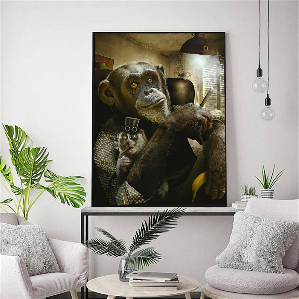 Домашний декор картина с изображением обезьяны Картина на холсте