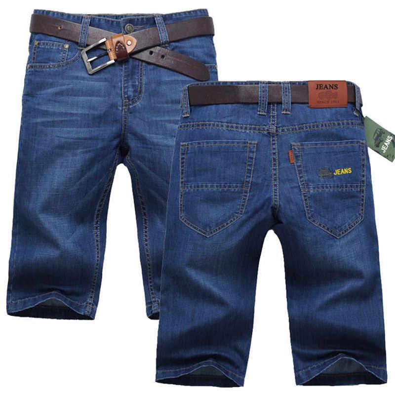 2019 męska Hollow spodenki dżinsowe mężczyzna CottonThin krótkie spodnie dżinsowe cienkie proste Cylinder luźne rekreacyjne spodnie duży rozmiar