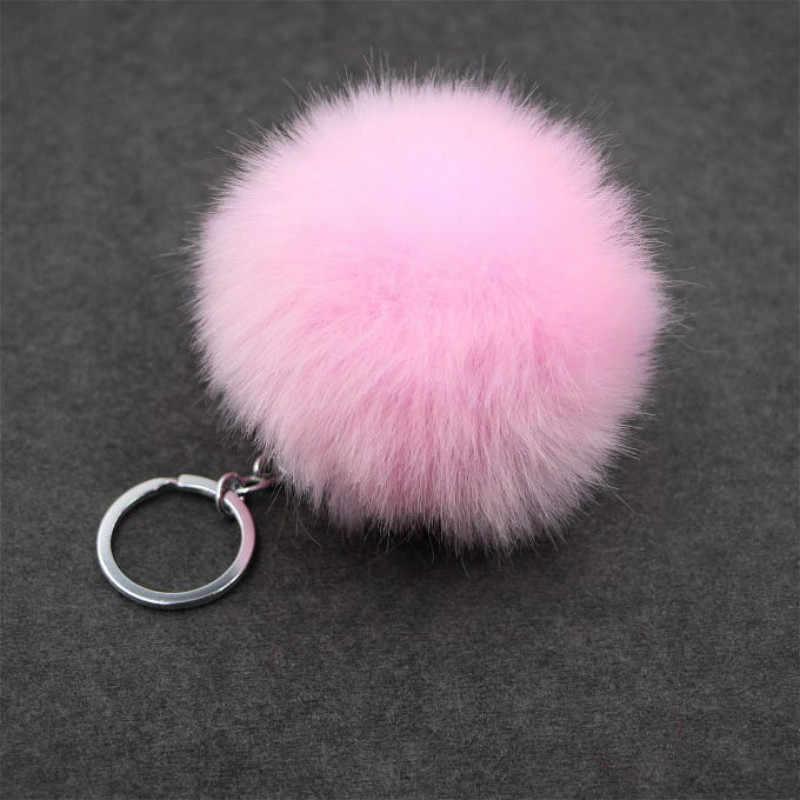 1pcs สีส้มตุ๊กตา Plush พวงกุญแจ Simple Ball Pompon จี้ Pompom ประดิษฐ์สัตว์พวงกุญแจผู้หญิงกระเป๋ารถ KeyRing ของเล่น