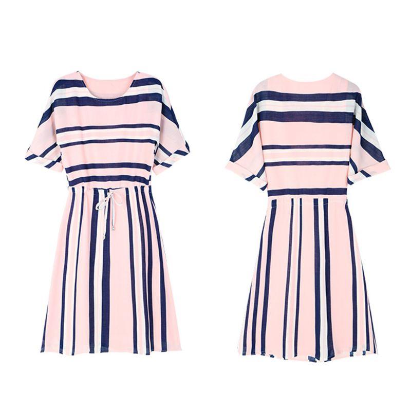 Womens Plus Size Milk Fiber Cuffed Half Sleeves Midi Stripes Dress Lace Up Drawstring Waist Round Neck Casual Loose Dress M-3XL