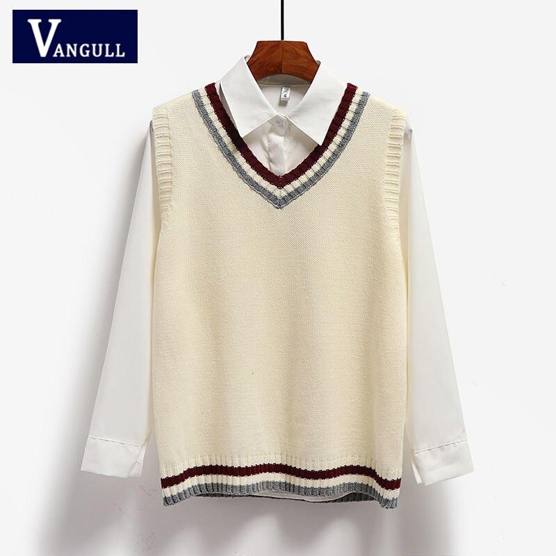 Vangull 2020 New Spring Autumn Sweater Vest Women V-Neck Knitted Vest Female Preppy Style Tank Tops Sleeveless Female Hot Sale