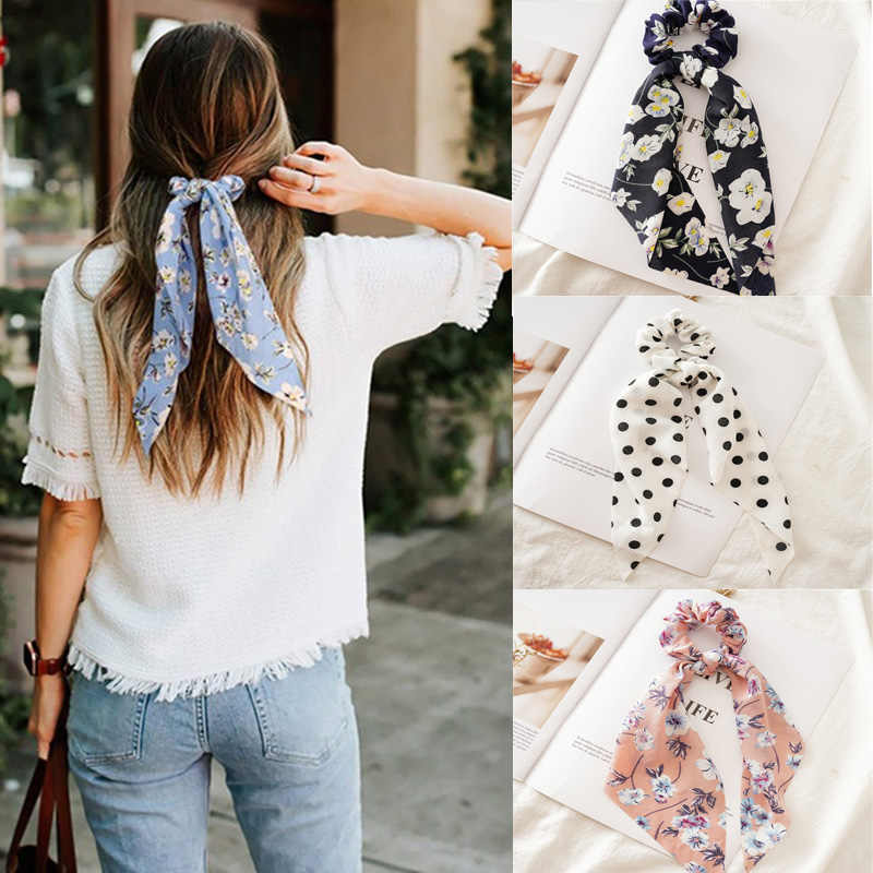 Details about  /Hair Ring Bows Knotted Elastic Hair Bands Peony Flower Print Women Streamers Z