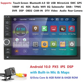 Android 10 Auto Radio Octa Core 7Inch 2DIN Universal Car NO DVD player GPS Stereo Audio Head unit DAB DVR OBD 4G RAM 64G ROM