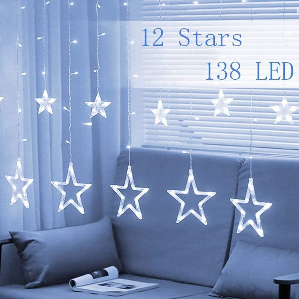 LEADLY 12 Stars 138 LED Curtain String Lights Window Curtain Lights With 8 Color Decoration Christmas Wedding Party Light String