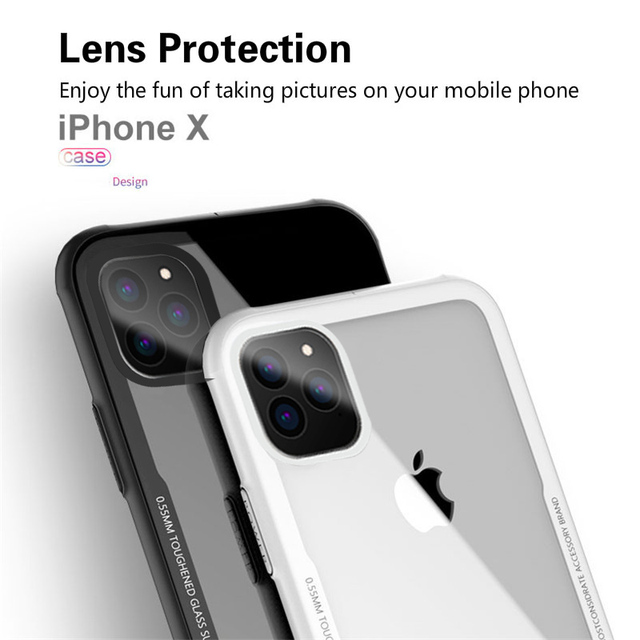 Tempered Glass Case For iPhone 12 12Pro 11 Pro X XR XS Max SE2 High Quality Clear Soft Silicone Glass Cover For iPhone 7 8 Plus 5