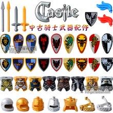 Juego de 21 piezas para niños, castillo Medieval, reinos, corona dorada, caballeros, Rey, soldado, bloque de construcción, escudo, espada, casco, armas
