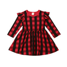 infant toddler baby girl Christmas princess dress long sleeve ruffled red plaid tutu fashion outdoor dress(China)