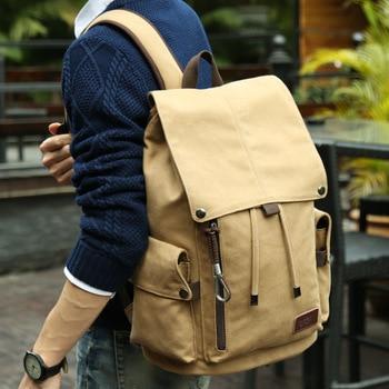 цена MOYYI Canvas Men's 14inch Laptop Trend Backpack USB Charging  Middle School Student Backpack Leisure Travel Backpack онлайн в 2017 году