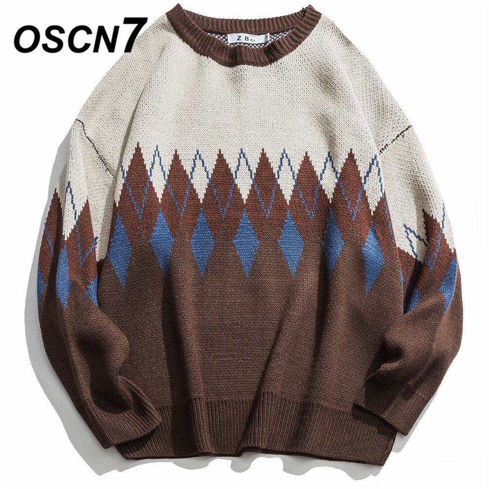 OSCN7 Funny Hole Stripe Sweaters Men 2019 Autumn High Streetwear Fashion Mens Pullovers Round Neck Vintage Sweaters 60047