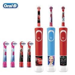 Oral B elektryczne szczoteczki do zębów dla dzieci inteligentne przypomnienie miękkie gumy do pielęgnacji szczeciny ładowanie indukcyjne wodoodporna szczotka do zębów dla dzieci 3 +