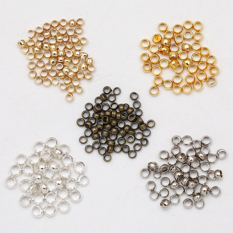 500pcs/lot Dia 2/3/4mm Gold Silver Copper Ball Crimp End Beads Stopper Spacer Beads For Diy Jewelry Making Findings Supplies