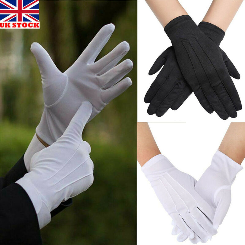 1 Pair White Cotton Gloves Soft Thin Jewelry Silver Inspection Work Handling Gloves
