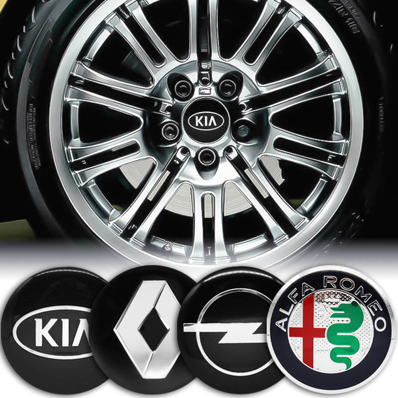 4Pcs <font><b>Car</b></font> 56mm sticker <font><b>Wheel</b></font> <font><b>Center</b></font> <font><b>Hub</b></font> <font><b>Caps</b></font> Decals For BMW Jeep Audi Honda Toyota Mitsubishi <font><b>Skoda</b></font> Renault Suzuki KIA Hyundai image