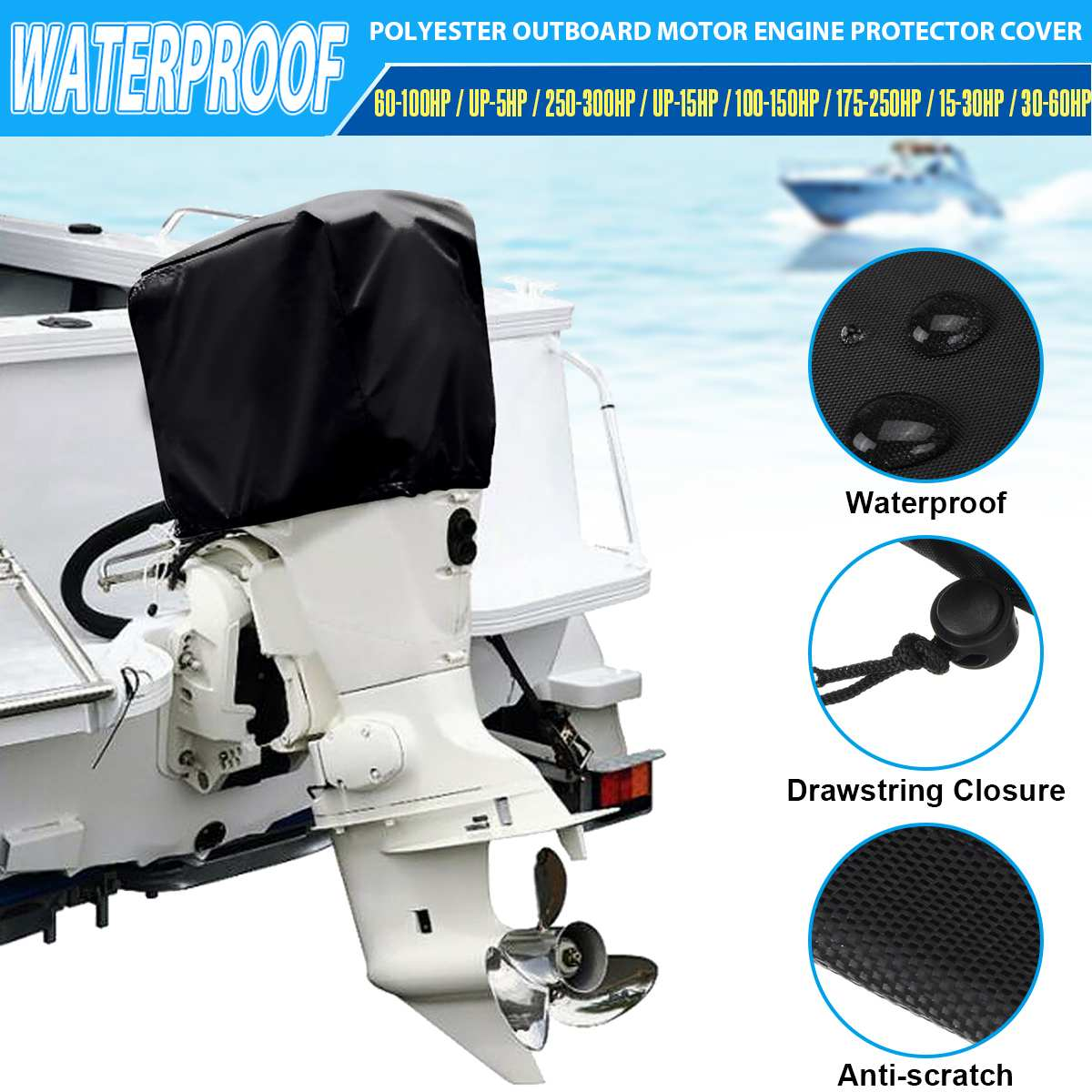 Marine Outboard Motor Boat Engine Cover UV Protector Rain Cover Suits 2-5 HP