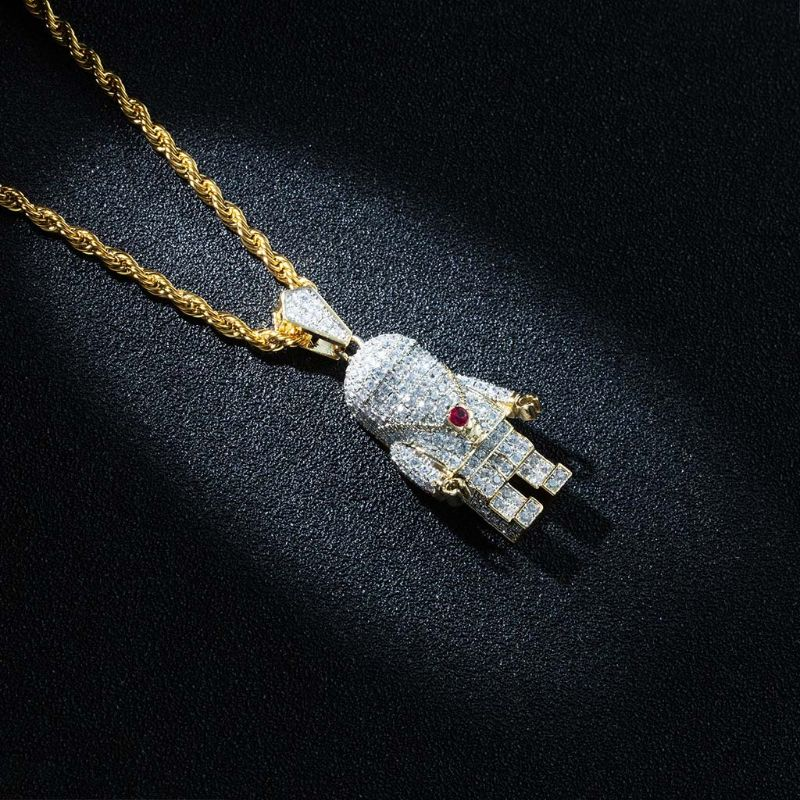Colar de pingente de astronauta de hip hop com corrente de corda de aço inoxidável - 3
