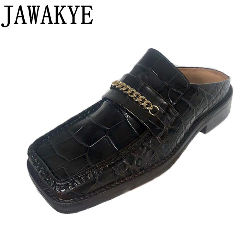 Crocodile Pattern Slippers 2020 Retro British Style Lazy Loafers Square Toe Mules With Metal Chain Women's Singles Shoes