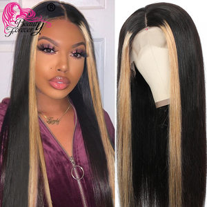 Beauty Forever 13*4 Lace Front Wigs Pre Plucked Brazilian Highlight Straight Remy Human Hair Wigs 8-24inch 150% 180% Density(China)
